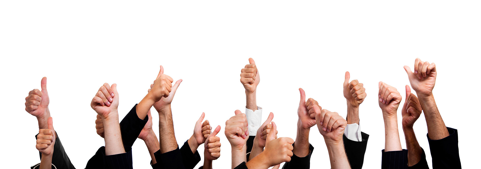Business People with Thumbs Up on White Background